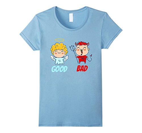 Angel Devil Baby Costumes (Womens Angel and devil Good and bad Costumes angel and devil tee XL Baby Blue)