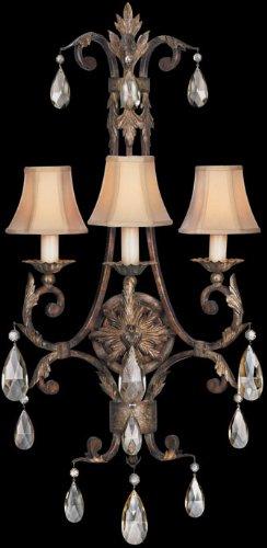 - Fine Art Lamps 227150, Stile Bellagio Crystal Wall Sconce Lighting, 3 Light, 180 Watts, Leather