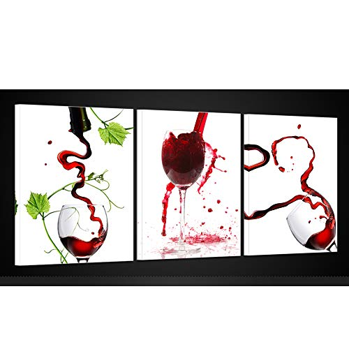 Kreative Arts - Large Red Wine Glasses Canvas Art Picture Painting on Canvas Print with Framed Modern Home Decorations Wall Art Set of 3 Each is 16x20inch