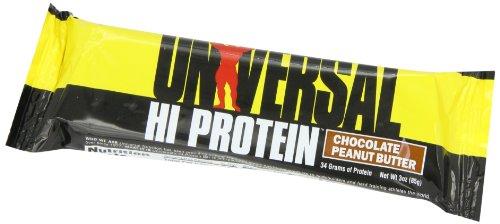 Hi Protein Bar - 34 g de Proteína - 1 g de Azúcar - 6.5 g de Grasa - Delicioso Sabor - Mantequilla de Cacahuate Barra de 85 g Caja de 16