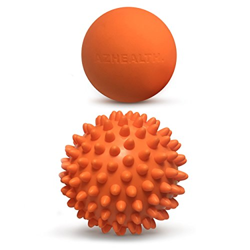 AZHEALTH Lacrosse and Spiky Massage Ball Set for Myofascial Release and Trigger Point Therapy, 2 pack