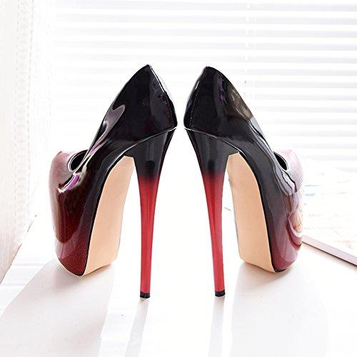 Women's Closed Toe Gradual Colour Platform Super Block High Heel Pump Wedding Shoes Red CcZiTN