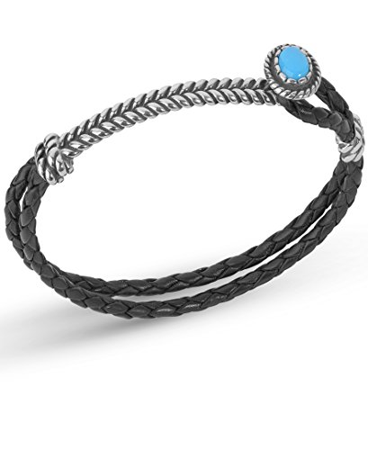 American West Sterling Silver Blue Turquoise Gemstone Black Leather Bracelet Size Small ()