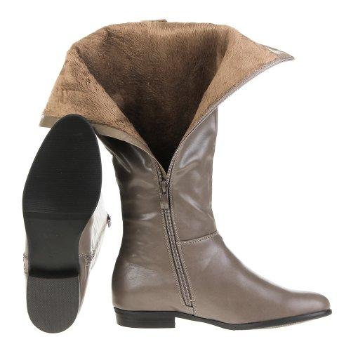 Ital-Design - Botas plisadas mujer Marrón - Brown - Grau Braun