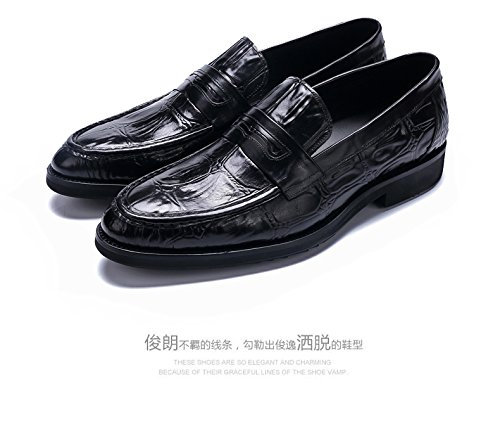 Fashion Slip TM Driving Shoe HAPPYSHOP Shoes On Crocodile Leather Black Moccasins Comfort Fake Men's PWT0wfdq0X