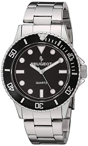 (Peugeot Men's Silver Steel Pro Diver Black Bezel Bracelet Watch 1023S)