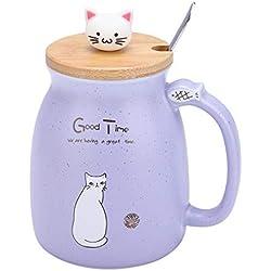 Taza de cerámica linda con tapa y cuchara, taza de cerámica de gato encantador con cuchara y tapa Taza de leche de agua de café, Drinkware(Púrpura)