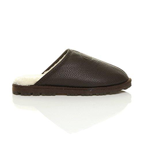 Ajvani - Zapatillas de estar por casa para mujer Mens Brown Matte