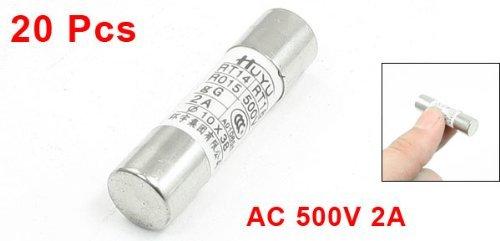 eDealMax 20 pc AC 500V 2A RT14 RT18 R015 tubo ceramico cilindrico fusibile collegamento 10 millimetri x 38 mm
