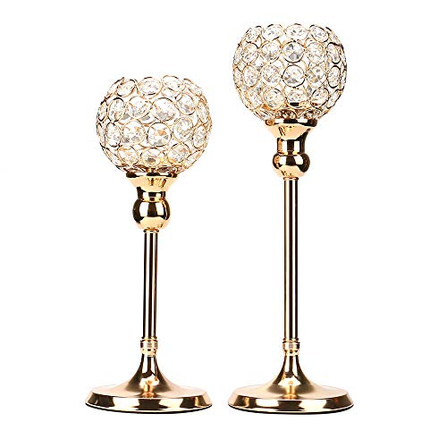 Sixpi Crystal Candlestick Holders, 11.8 inch/15.7in Tall Candle Holder Coffee Table Decorative Centerpieces Wedding Event Candelabra Candle Stand (Large)