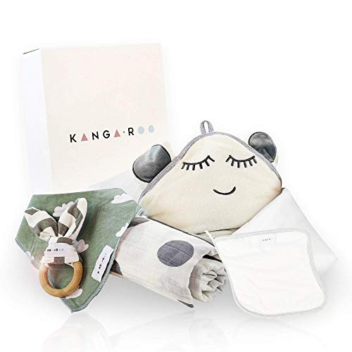 (Newborn Baby Gift Basket Set - Unisex Baby Shower Gift for Boys and Girls. 5 Piece Set. Large Hooded Baby Towel, Washcloth, Muslin Cotton Swaddle, Bib and Wooden Bunny Teether.)