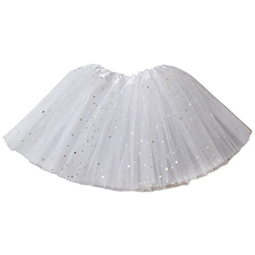 Jastore Girls Layered Stars Sequins Tutu Skirt Princess Ballet Dance Dress (White) ()