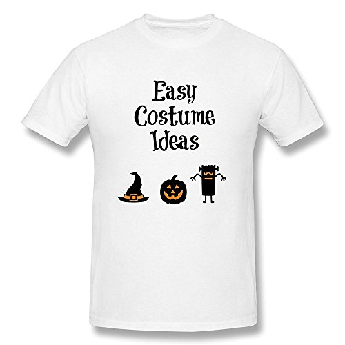 DASY Men's O Neck Easy Halloween Costume Ideas T Shirt Large White (Halloween Costume Award Ideas)