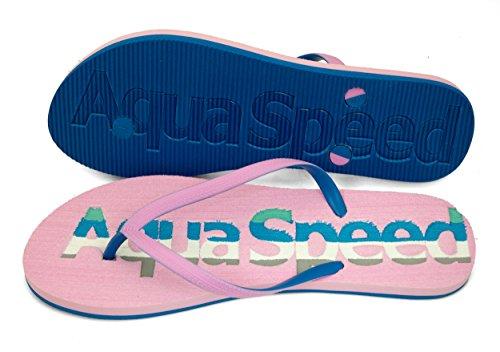 AQUA-SPEED® MOLUKI Damen Flip Flops | Erwachsene | Zehentrenner | Sandalen | Poolschuhe | 36-41 Pink / Blau