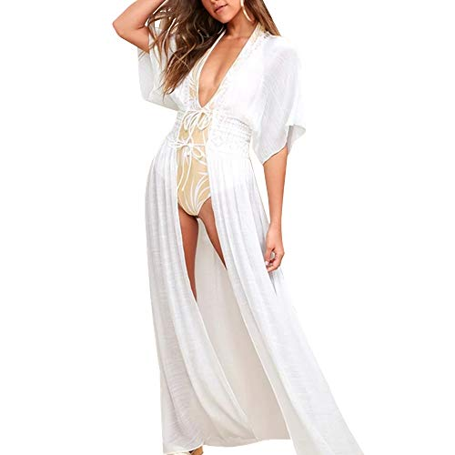 TopHonor Bikini Cover up Beachwear Swimsuit Long Dress White Kimono Beach Swimwear Crochet Short Sleeve