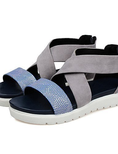 Round Toe Dress Blue Outdoor Shoes Flat Casual Heel Peep Toe Flats Toe Blue Open Women's ShangYi Creepers Sandals 8Uqx6g0B