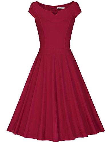 MUXXN Women's Classy Sleeveless Empire Waist Wedding Short Dress (L Burgundy) ()