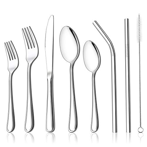 LIANYU 52-Piece Silverware Set, Stainless Steel Cutlery Flatware Set Service for 8, Eating Utensils with Reusable Metal…