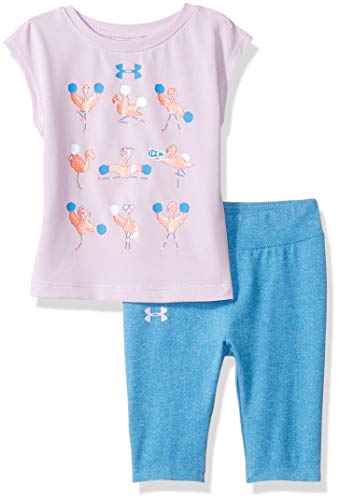 Under Armour Baby Girls Short Sleeve Tee and Capri Set, Purple ace 18 Months ()