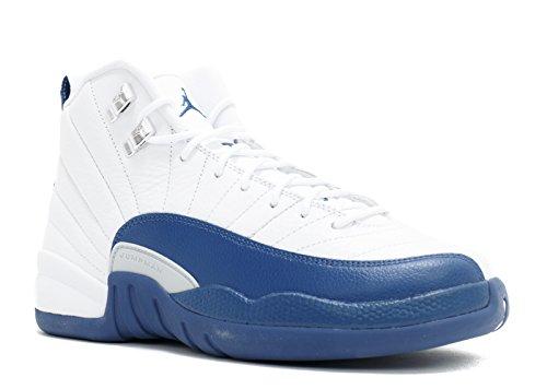 Jordan Air 12 Retro BG Big Kid's Shoes White/French Blue/Metallic Silver/Varsity Red 153265-113 (4 M US)]()