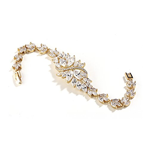 Mariell 14K Gold Plated Cubic Zirconia Bridal Wedding Tennis Bracelet with Marquis-Cut CZ (Gemstone Cluster Bracelet)
