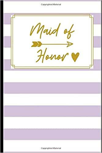 Maid Of Honor Stylish Lavender White Stripes Notebook Things To