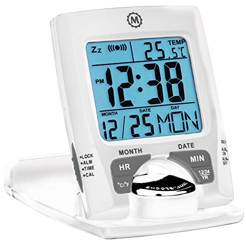 Marathon CL030023WH Travel Alarm Clock with Calendar & Temperature - Doubles as Phone Stand/Holder - Battery Included (White) ()