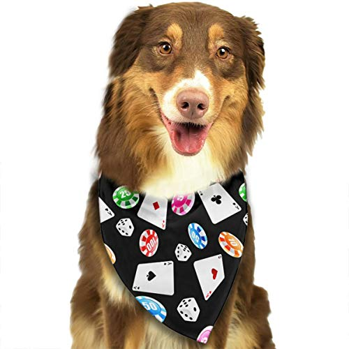 OURFASHION Poker Dice Bandana Triangle Bibs Scarfs Accessories Pet Cats Puppies.Size is About 27.6x11.8 Inches -