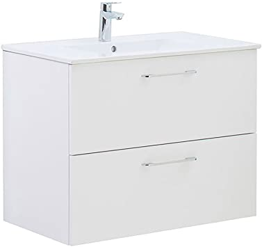 32 Inch Happy White Bathroom Vanity Cabinet Floating Bathroom Cabinet Ceramic Top Sink Wall Mirror 32 X 24 X 18 2 Drawers Amazon Com