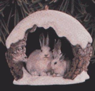 SNOWSHOE RABBITTS IN WINTER Christmas Ornament - 1997 Hallmark Keepsake