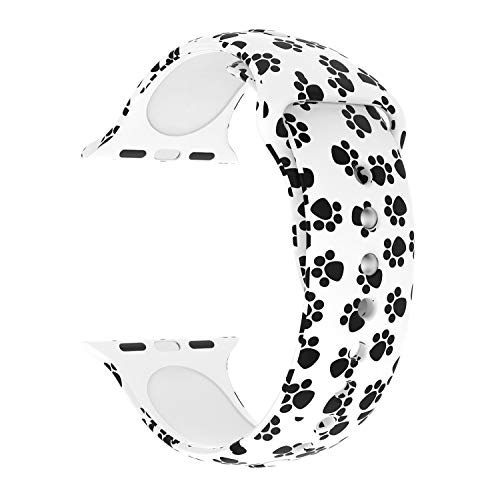 Usitek Sport Band Compatible with iWatch 44mm/42mm 40mm/38mm, Soft Silicone Sport Strap Replacement Floral Printed Bands Compatible for iWatch Series 4/3/2/1 S/M M/L for ()
