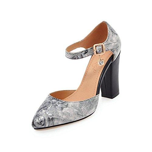 Zapatos de Mujer 2018 Verano Sandalias Nuevas Baotou Sandalias de Tacón Grueso Estilo étnico Tacones Altos Blanco Negro Rosa Azul De Gran Tamaño D