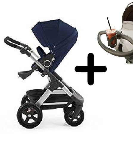 Stokke Trailz All-Terrain Stroller - Deep Blue + Stokke Cup Holder by Stokke
