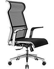 Sihoo Ergonomic Office Chair Computer Desk Chair, Large Headrest High Back Mesh Chair Metal Design Frame Adjustable Swivel Task Chair(Black)