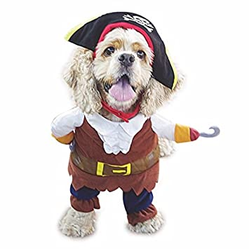 5dea13035f5 Idepet Funny Dog Pet Clothes Caribbean Pirate Cat Costume Suit Corsair  Dressing up Party Apparel Clothing for Dogs Cat Plus Hat M  Amazon.co.uk   Pet ...