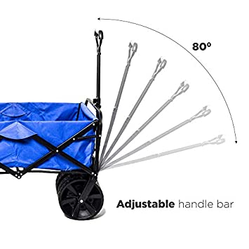 Collapsible Wagon Beach Cart, All-Terrain Wagon Foldable Cart Beach Wagon with Big Wheels for Sand, Garden Push Wagon, Shopping Cart for Groceries