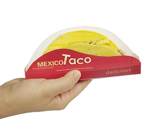 Disposable Taco Holder,HapWay 30 Pack Durable Paper Food Tray Paperboard Taco Rack Stand for Serving Hard or Soft Tacos (Disposable Taco Holder)