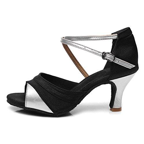 Tacón de Zapatos modelo latino ES 7cm Zapatos 221 Ballroom Satén baile de de Mujer estándar baile Marrón SWDZM TacX7za