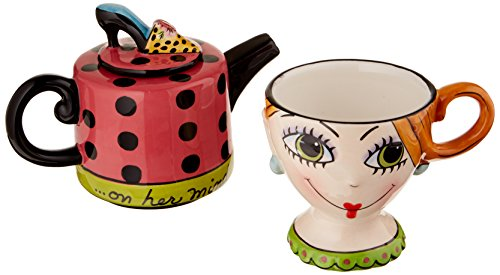Appletree Design Shoes On Her Mind Tea for One Set, Teapot Rests on Top of Tea Cup, 8-Inch (Whimsical Tea Sets)