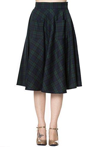 Dancing Days 60's Dublin County Irish Green Tartan Midi Skirt (2X)