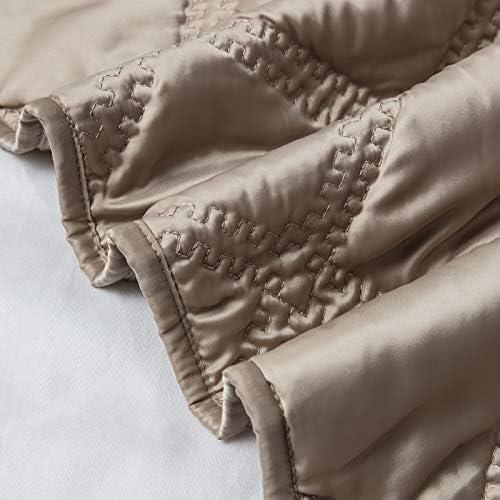 SHALALA NEW YORK Diamond 3 Piece Quilt Set - Modern Fine Satin Fabric with Down Alternative Fill - Ultra Soft Luxury Lightweight Comforter Set for All Season (Gold, King)