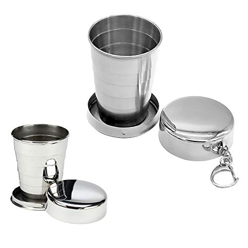2 PACK- (140ml) - Telescopic Collapsible Stainless Steel Pocket Cup With Key Chain Folding Cups for Outdoor Travel Camping Picnic Backpacking ()