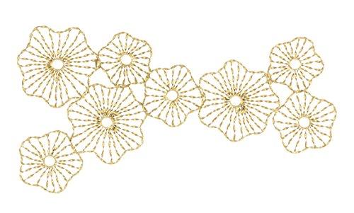 Benzara Fluorescent Flower Wall Decor, Gold
