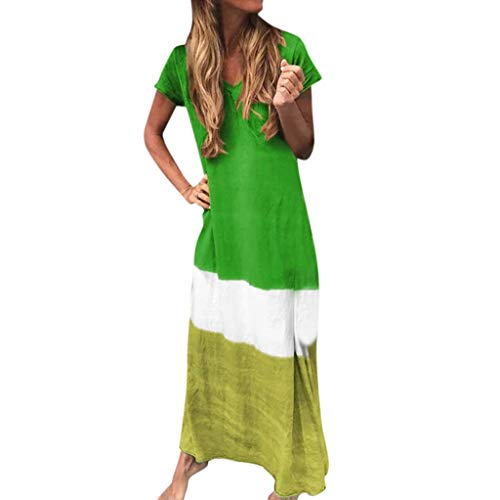 - Tantisy ♣↭♣ Women's Short Sleeve V-Neck Length Dress Summer Casual Triple Color Block Beach Ankle-Length Dress Green