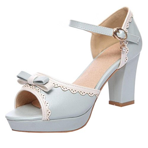 Blue Sandals Toe 7 Peep Women Bow TAOFFEN UwvXqA