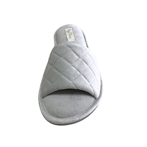 Velvet Comfy Real Spa Slipper with Toe House Lt Grey Open Slippers Lining for Women Terrycloth Fancy TTz8wx4