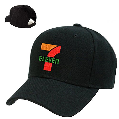 Seven 11 Mart Gas Station Black Embroidery Adjustable Baseball Cap Souvenier Gift Unique Hat