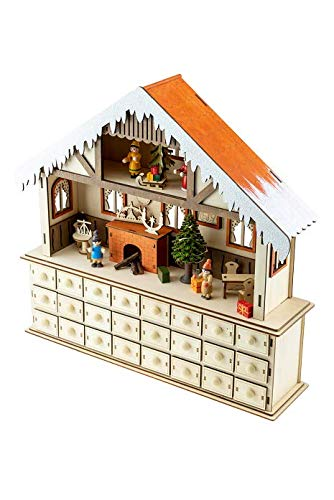 (Clever Creations Cozy Interior Advent Calendar   Open and Closing Drawers to Count Down Days Until Christmas   Wrapped Presents, Sleigh, Chimney & More Christmas Decor   Measures 17