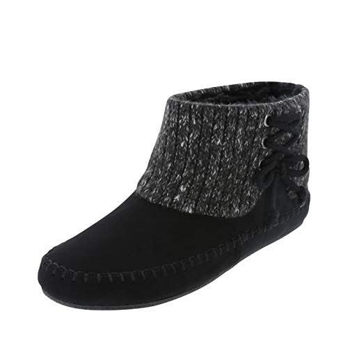Airwalk Black Suede Women's Candi Sweater Moc Bootie 6.5 Regular (Airwalk Boots)