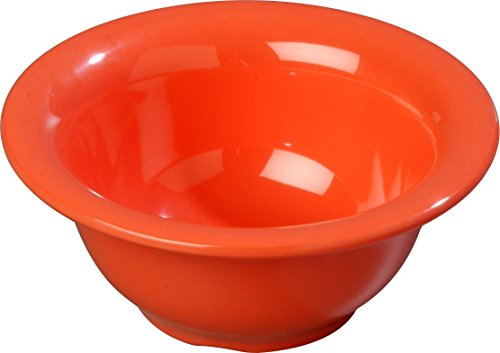 Carlisle 3303852 Sierrus Melamine Rimmed Nappie Bowls, 10-oz, Sunset Orange (Set of 24)